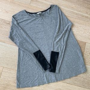 CLUB MONACO | M Leather detailed long sleeve top